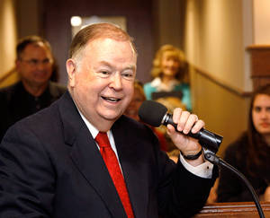 photo - OU President David Boren speaks during the dedication ceremony for the Jeannine Rainbolt College of Education on Dec. 6, 2010.   Photo by Jim Beckel, The Oklahoman Archive