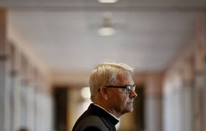 photo - Archbishop Paul S. Coakley speaks during a news conference Monday at the Catholic Pastoral Center in Oklahoma City. Photo by Chris Landsberger, The Oklahoman &lt;strong&gt;CHRIS LANDSBERGER - CHRIS LANDSBERGER&lt;/strong&gt;