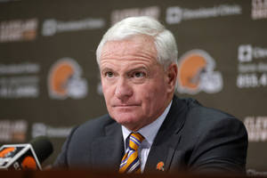 Photo - Cleveland Browns owner Jimmy Haslam answers questions from the media at the Browns' training facility Monday, Dec. 30, 2013, in Berea, Ohio. Head coach Rob Chudzinski was fired Sunday. (AP Photo/Tony Dejak)