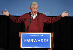 Photo -   Former President Bill Clinton speaks during a campaign event for President Barack Obama on Sunday, Nov. 4, 2012, at St. Cloud State University, in St. Cloud, Minn. (AP Photo/The St. Cloud Times, Dave Schwarz) NO SALES