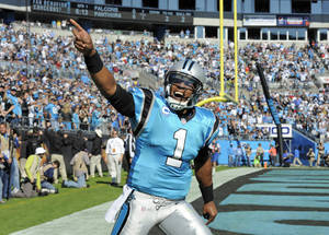 Photo - Carolina Panthers quarterback Cam Newton (1) celebrates after his team's touchdown against the Atlanta Falcons in the first half of an NFL football game in Charlotte, N.C., Sunday, Nov. 3, 2013. (AP Photo/Mike McCarn)