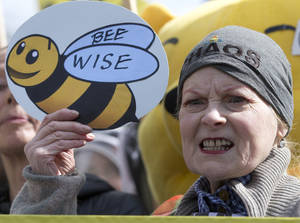 Photo - British fashion designer Vivienne Westwood holds up a sign supporting bee-keepers as she joins a demonstration outside the Place of Westminster in support of apiarists and their campaign to show public opinion ahead of the European Commission vote on the proposal to ban bee-harming neonicotinoid pesticides, in London, Friday, April, 26, 2013. (AP Photo/Alastair Grant)