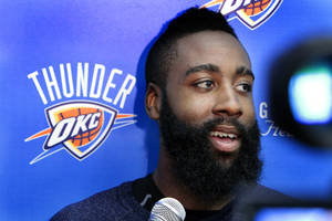 Photo - NBA BASKETBALL: James Harden speaks with the media following practice at the Oklahoma City Thunder practice facility on Friday, April 27, 2012, in Oklahoma City, Okla.  Photo by Steve Sisney, The Oklahoman