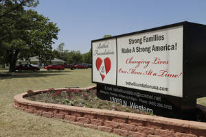 "Photo - The sign in front of Bethel Foundation, 13003 N Western Ave., reads, ""Changing Lives One Mom At a Time."" The nonprofit is going through some of its own changes, too. <252,1>PHOTO BY DOUG HOKE, THE OKLAHOMAN <strong>DOUG HOKE - THE OKLAHOMAN</strong>"