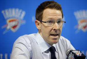 Photo - Oklahoma City Thunder general manager Sam Presti speaks about the NBA draft during a press conference in Oklahoma City, Thursday, June 23, 2011.  Photo by Bryan Terry, The Oklahoman