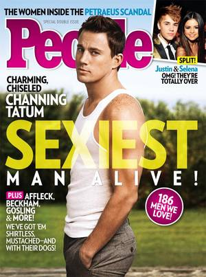 Photo -   This magazine cover image released Wednesday, Nov. 14, 2012, by People shows actor Channing Tatum on the cover of People's Sexiest Man Alive special double issue. (AP Photo/People)