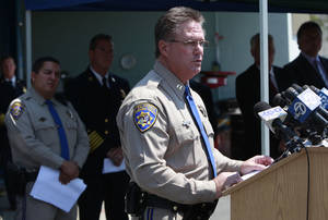 Photo - Commander Mike Maskarich of the California Highway Patrol revealed the results of their three-month investigation into the fatal San Mateo Bridge fire during a news conference Monday, Aug. 19, 2013 in Redwood City, Calif. (AP Photo/San Jose Mercury News, Karl Mondon)