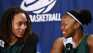 Photo - Baylor's Brittney Griner and during the press conference and Odyssey Sims talk during a press conference at practice day at the Oklahoma City Regional for the NCAA women's college basketball tournament at Chesapeake Energy Arena in Oklahoma City, Saturday, March 30, 2013. Photo by Sarah Phipps, The Oklahoman