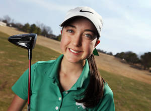 Photo - Bishop McGuinness golfer Alexis Sadeghy poses for a photo at Oak Tree National in Edmond, Okla., Thursday, March 14, 2013. Photo by Nate Billings, The Oklahoman