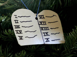Photo - A Ten Commandments ornament represents Moses on the Jesse tree.