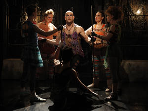 "Photo -   This undated image released by Jim Randolph Media Relations shows, standing from left, Alex Wyse, Claire Neumann, Wade McCollum, Shelley Thomas and Lindsay Nicole Chambers, in a scene from ""Triassic Parq The Musical,"" performing off-Broadway at The SoHo Playhouse in New York. (AP Photo/Jim Randolph Media Relations, Carol Rosegg)"