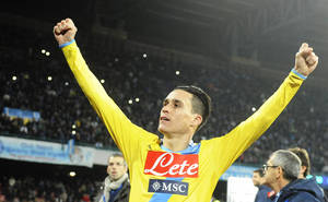 Photo - Napoli's José Callejón, who scored first goal, celebrates at the end of an Italian Cup, semifinal return match, between AS Roma and Napoli, at the San Paolo stadium in Naples, Italy, Wednesday, Feb. 12, 2014. Napoli won 3 - 0 to advance to the final. (AP Photo/Salvatore Laporta)