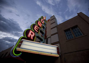 Photo - The rebuilt marquee is the only noticable improvement at the Tower Theater, 425 NW 23, since it was purchased eight years ago by Marty Dillon. <strong>SARAH PHIPPS</strong>