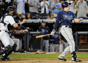 photo -   New York Yankees catcher Chris Stewart pumps his fist after Tampa Bay Rays' Elliott Johnson struck out off of Yankees' Rafael Soriano for the final out in the ninth inning of a baseball game, Saturday, Sept., 15, 2012, at Yankee Stadium in New York. The Yankees won 5-3. (AP Photo/Kathy Kmonicek)