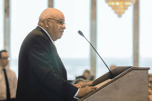 Photo - Herman Boone addresses Oklahoma City leaders Thursday at the Petroleum Club. PHOTO PROVIDED