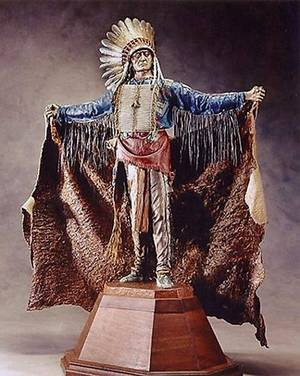"Photo - A bronze sculpture by the late artist Dave McGary may be purchased by the city of Edmond. The sculpture, ""Touch the Clouds,"" depicts a 19th century Miniconjou chief who fought alongside Crazy Horse at the Battle of Little Big Horn. It now stands outside the Houston Astrodome. PHOTO PROVIDED. <strong>PROVIDED</strong>"