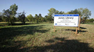 photo - Above: This site is where the new Jones library will be built on Britton Road just west of Hiwassee in Jones.