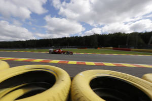 photo -   Ferrari driver Fernando Alonso of Spain steers his car during the third free practice session ahead the Belgium Formula One Grand Prix in Spa-Francorchamps circuit , Belgium, Saturday, Sept.1, 2012. The Formula one race will be held on Sunday. (AP Photo/Luca Bruno)  