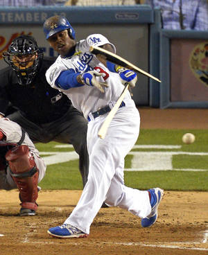 Photo -   Los Angeles Dodgers' Hanley Ramirez breaks his bat as he grounds out during the fourth inning of their baseball game against the Arizona Diamondbacks, Thursday, Aug. 30, 2012, in Los Angeles. (AP Photo/Mark J. Terrill)