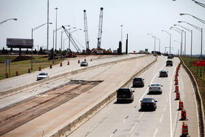 photo - Construction is proceeding in the widening of the Kilpatrick Turnpike in Oklahoma City, OK, Saturday, September 1, 2012,  By Paul Hellstern, The Oklahoman