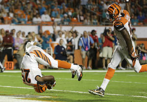 Photo - Cincinnati Bengals running back Gio Bernard (25) rolls head-first for a touchdown during the second half of an NFL football game against the Miami Dolphins, Thursday, Oct. 31, 2013, in Miami Gardens, Fla. At right is wide receiver Mohamed Sanu (12). (AP Photo/Lynne Sladky)