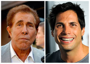 "Photo -   FILE - This photo combination of file photos shows casino mogul Steve Wynn, left, in Los Angeles, and ""Girls Gone Wild"" founder Joe Francis, in Los Angeles. A judge has cut casino mogul Steve Wynn's slander verdict against ""Girls Gone Wild"" founder Joe Francis by $21 million, more than half of the original $40 million jury verdict. A jury found that Francis slandered Wynn when he claimed the casino mogul threatened to kill him and bury him in the desert. (AP Photo/Nick Ut, Chris Pizzello, file)"