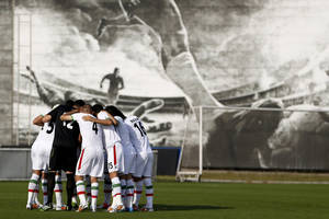 Photo - Iran's national soccer team players huddle before the start of an international soccer friendly against Trinidad and Tobago at the Corinthians soccer team training center Sao Paulo, Brazil, on Sunday, June 8, 2014. Iran will play in group F of the 2014 soccer World Cup. (AP Photo/Julio Cortez)