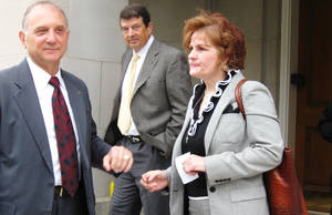 photo - Houston attorney Jack B. Zimmerman, left, and Vicki Behenna, right, leave the Washington, DC courthouse on Monday where Zimmerman argued on behalf of Behenna's son, U.S. Army 1st Lt. Michael Behenna, before the U.S. Court of Appeals for the Armed Forces. <strong>Chris Casteel - The Oklahoman</strong>
