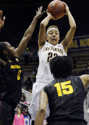 photo - California's Layshia Clarendon, center, goes up to shoot as Arizona State's Micaela Pickens, left, and Nisha Barrett defend during the first half of an NCAA college basketball game in Berkeley, Calif., Friday, Feb. 8, 2013. (AP Photo/George Nikitin)