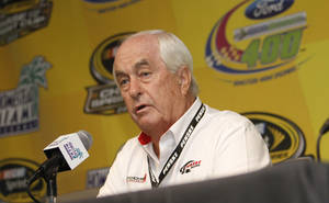 Photo -   Roger Penske, owner of the Penske racing team, speaks at a NASCAR news conference at Homestead-Miami Speedway in Homestead, Fla., Friday, Nov. 16, 2012. (AP Photo/David Graham)