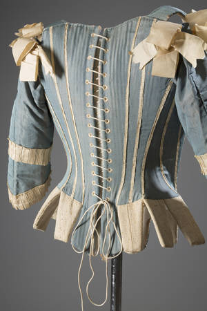"Photo - This image released by The Museum at FIT shows a 1770s European corset in silk.  From a 1770 corset to a 2014 bra-and-panty set in lacy stretch silk, the Museum at the Fashion Institute of Technology has taken on lingerie and ladies foundation garments as the focus of a new exhibition. In about 70 pieces, ""Exposed: A History of Lingerie"" touches on the mechanics, marketing and cultural touchstones that not only shape and adorn but helped define culture around the globe. The exhibition runs through Nov. 15. (AP Photo/The Museum at FIT, Eileen Costa)"