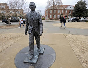Photo - The James Meredith statue is seen on the University of Mississippi campus in Oxford, Miss., Monday, Feb. 17, 2014. A $25,000 reward is available for information leading to the arrest of two men involved in sullying the statue early Sunday, Feb. 16. (AP Photo/The Daily Mississippian, Thomas Graning)