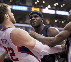Photo -   Los Angeles Clippers' Blake Griffin and Memphis Grizzlies' Zach Randolph are separated during the first half of a NBA first-round playoff basketball game in Los Angeles, Monday, May 7, 2012. (AP Photo/Chris Carlson)
