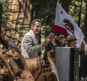 Photo - In this Monday, June 30, 2014, photo provided by Yosemite Conservancy, California Lt. Gov. Gavin Newsom addresses the public gathered at a ceremony in Yosemite National Park to marking the 150th Anniversary of the Yosemite Grant Act and groundbreaking for the restoration of the Mariposa Grove of Giant Sequoias. President Abraham Lincoln signed the Yosemite Grant on June 30, 1864, ushering in the national park idea. (AP Photo/Yosemite Conservancy, Al Golub)