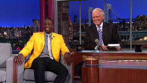Photo -   This image provided by CBS shows Dwyane Wade, All-Star for the 2012 NBA Champions the Miami Heat, talking about his new book on parenthood, A Father First: How My Life Became Bigger Than Basketball, when he visits the LATE SHOW with DAVID LETTERMAN, Tuesday, Sept. 4, 2012. Wade's book hit bookstores Tuesday, the same day as his LATE SHOW appearance. (AP Photo/CBS Entertainment) ©2012 Worldwide Pants Inc. All Rights Reserved