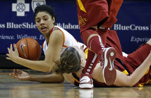 photo - OKLAHOMA STATE UNIVERSITY / OSU: Oklahoma State's Brittney Martin (22) fights for control of a loose ball with Iowa State's Hallie Christofferson (5) during the women's college basketball game between Oklahoma State and Iowa State at  Gallagher-Iba Arena in Stillwater, Okla.,  Sunday,Jan. 20, 2013.  OSU won 71-42. Photo by Sarah Phipps, The Oklahoman