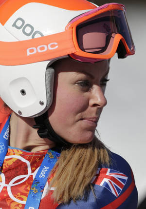 Photo - Britain's Chemmy Alcott stands in the finish area after a women's downhill training run for the 2014 Winter Olympics, Thursday, Feb. 6, 2014, in Krasnaya Polyana, Russia. (AP Photo/Gero Breloer)