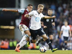 Photo - West Ham United's Ravel Morrison, left, tries to stop Tottenham Hotspur's Lewis Holtby, right, during an English Premier League soccer match at the White Hart Lane ground in London, Sunday, Oct. 6, 2013. West Ham United won the match 3-0. (AP Photo/Lefteris Pitarakis)
