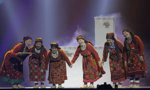 Photo -   Russia entrant Buranovskiye Babushki perform during rehearsals for the 2012 Eurovision Song Contest at the Baku Crystal Hall in Baku, Azerbaijan, Monday, May 21, 2012. The final of the 2012 Eurovision Song Contest will be held at the stadium on May 26, 2012. (AP Photo/Sergey Ponomarev)