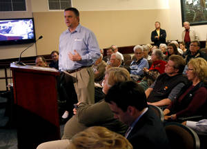 photo - Mark Ferguson speaks to the Edmond Planning Commission about a proposed Walmart Neighborhood Market grocery store on the vacant northwest corner of Coffee Creek Road and Kelly Avenue in Edmond, Okla., Tuesday, Dec. 4, 2012. The planning commission rejected the plans for a Walmart Neighborhood Market grocery store in Edmond.  Photo by Bryan Terry, The Oklahoman