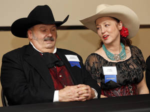 Photo - Jessie D. Robertson, left, and Devon Dawson, collectively known as Miss Devon and the Outlaw, speak about winning the New Horizons music award during the press conference before the Western Heritage Awards at the National Cowboy & Western Heritage Museum in Oklahoma City, Saturday, April 20, 2013. Photo by Nate Billings, The Oklahoman