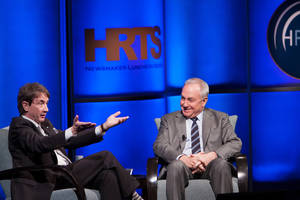 "Photo - This Tuesday, April 16, 2013 photo released by The Hollywood Radio and Television Society shows actor/comedian Martin Short, left, with Lorne Michaels at the presentation of ""Comedy on TV: A Conversation with Lorne Michaels,"" moderated by Short, during The Hollywood Radio and Television Society (HRTS) event at The Beverly Hilton in Beverly Hills, Calif. Short co-stars in a pilot for a new comedy under consideration for the upcoming TV season. (AP Photo/The Hollywood Radio and Television Society, Chyna Photography)"