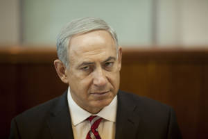 Photo - Israeli Prime Minister Benjamin Netanyahu attends the weekly cabinet meeting in Jerusalem Sunday, Oct. 13, 2013. (AP Photo/Ariel Schalit, Pool)