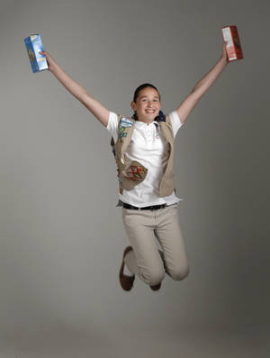Photo -  Girl Scout cookie sales record-breaker Katie Francis at OPUBCO, Thursday, April 10, 2014. Photo by Doug Hoke, The Oklahoman  <strong>DOUG HOKE -  THE OKLAHOMAN </strong>