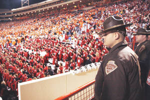 Photo - Trooper Carillo before the first half of Saturday's game. Photo by DOUG HOKE, The Oklahoman