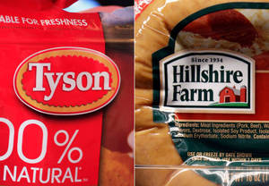 Photo - This combo made with file photos shows a package of frozen Tyson Chicken Nuggets, left, and a package of Hillshire Farm sausage, in Palo Alto, Calif. Two days after poultry producer Pilgrim's Pride made a $5.58 billion dollar bid for the maker of Ball Park hot dogs and Jimmy Dean sausages, Tyson Foods Co. on Thursday, May 29, 2014 sweetened the pot with a $6.2 billion offer. The deal sent Hillshire shares up 14 percent in premarket trading. (AP Photo/Paul Sakuma, File)
