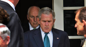 "Photo - This July 30, 2008 file photo shows President Bush, followed by Vice President Dick Cheney, as he leaves the Cabinet Room of the White House in Washington, to make a statement in the Rose Garden following a Cabinet meeting in Washington, D.C.  ""The World According to Dick Cheney"" is included in the documentary premieres at the upcoming 2013 Sundance Film Festival in January.  (AP Photo/Ron Edmonds, File)"