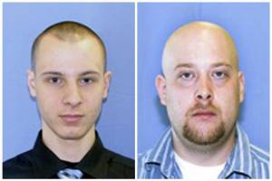 Photo -   This combination of two undated photos provided by the Pittsburgh police shows Garda Cash Logistics armored car guards Kenneth Konias Jr., 22, of Dravosburg, Pa., left, and his partner, Michael Haines, of East McKeesport. Konias, wanted on charges he stole more than $2 million from an armored car he was paid to guard in Pittsburgh, murdering Michael Haines in the process, was arrested Tuesday morning April 24, 2012, in Florida, an attorney and a federal prosecutor said. (AP Photo/Pittsburgh Police)