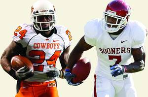 Photo - Former OSU running back Kendall Hunter and former OU running back DeMarco Murray. PHOTOS BY THE OKLAHOMAN