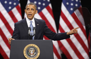 photo - President Barack Obama speaks about immigration reform Tuesday, Jan. 29, 2013, at Del Sol High School in Las Vegas. (AP Photo/Isaac Brekken)